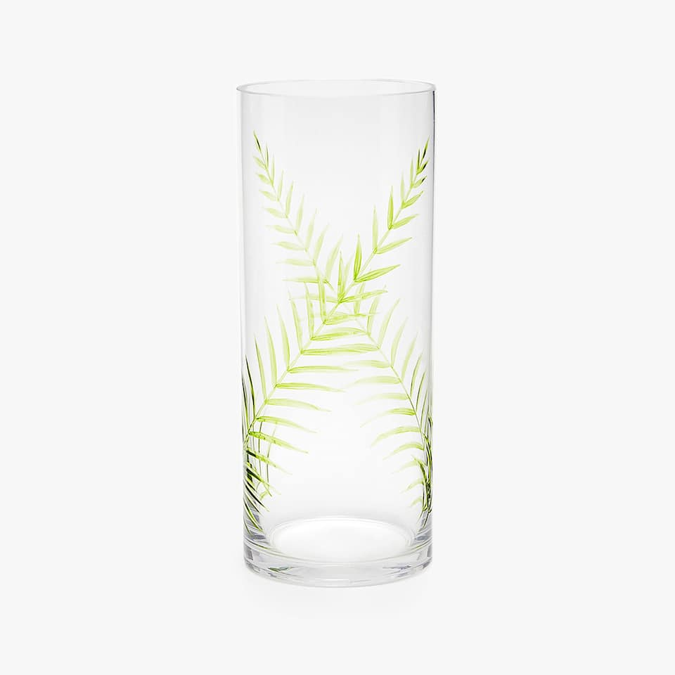 ENGRAVED GLASS VASE WITH PAINTED LEAF PATTERN
