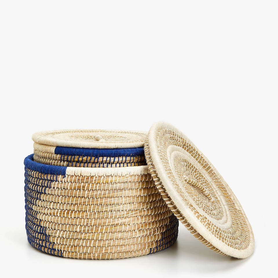 ROUND JUTE BASKET WITH LID