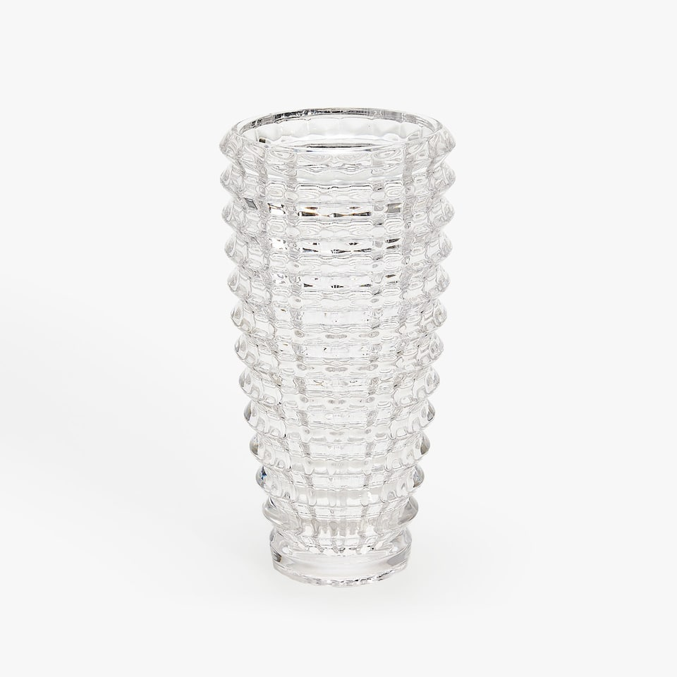 GLASS VASE WITH GEOMETRIC RAISED DESIGN