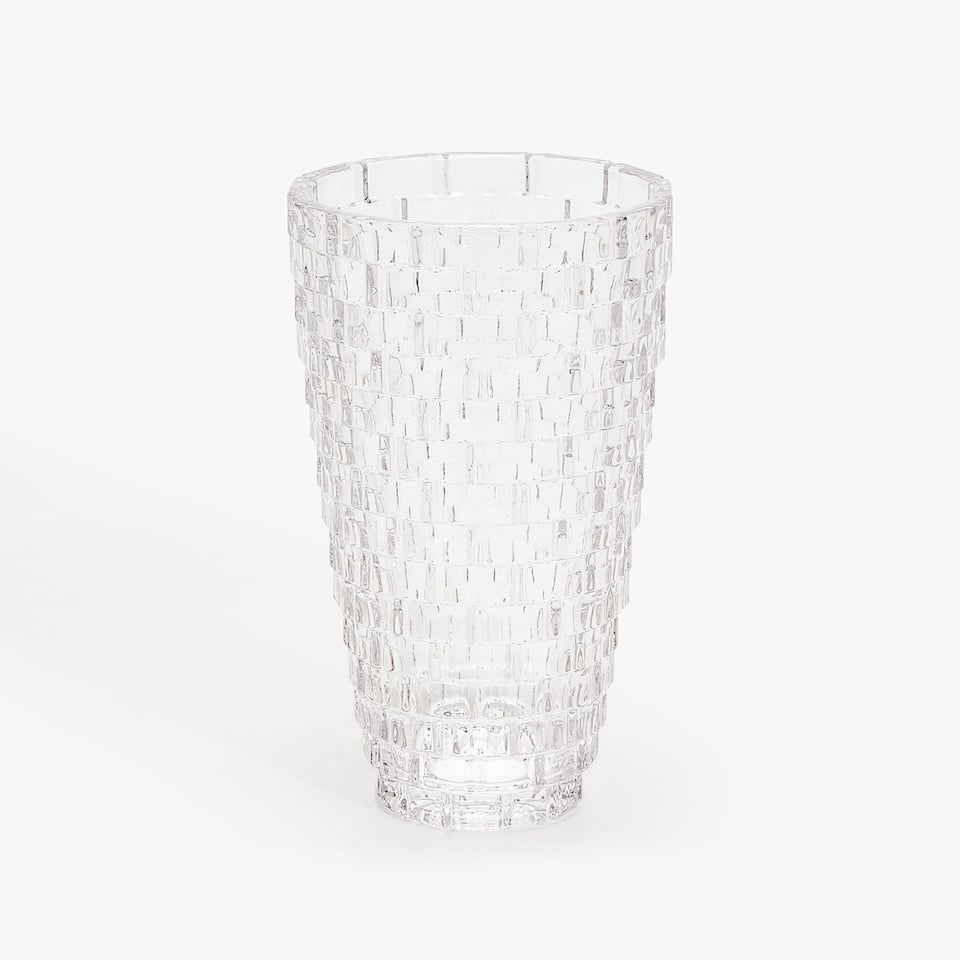 GLASS VASE WITH RAISED DESIGN