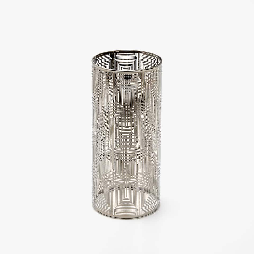 BROWN TRANSFER BOROSILICATE GLASS VASE