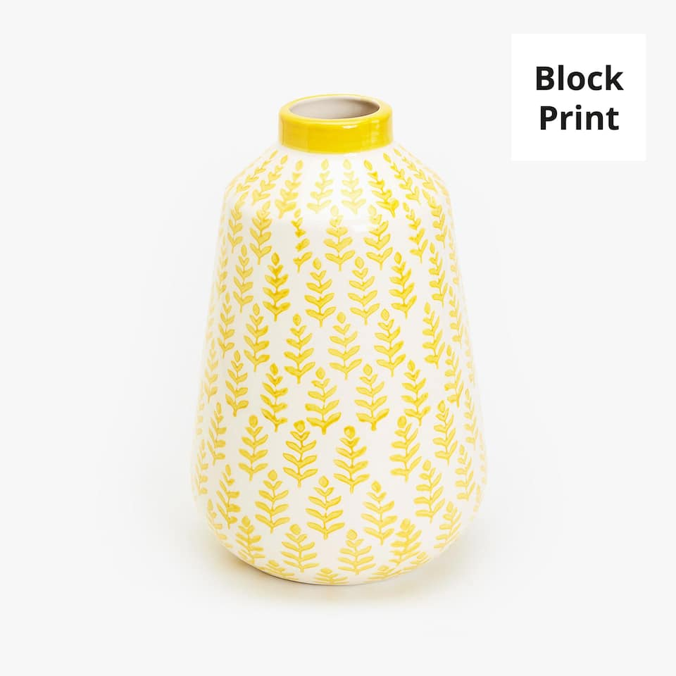 YELLOW BLOCK PRINT CERAMIC VASE