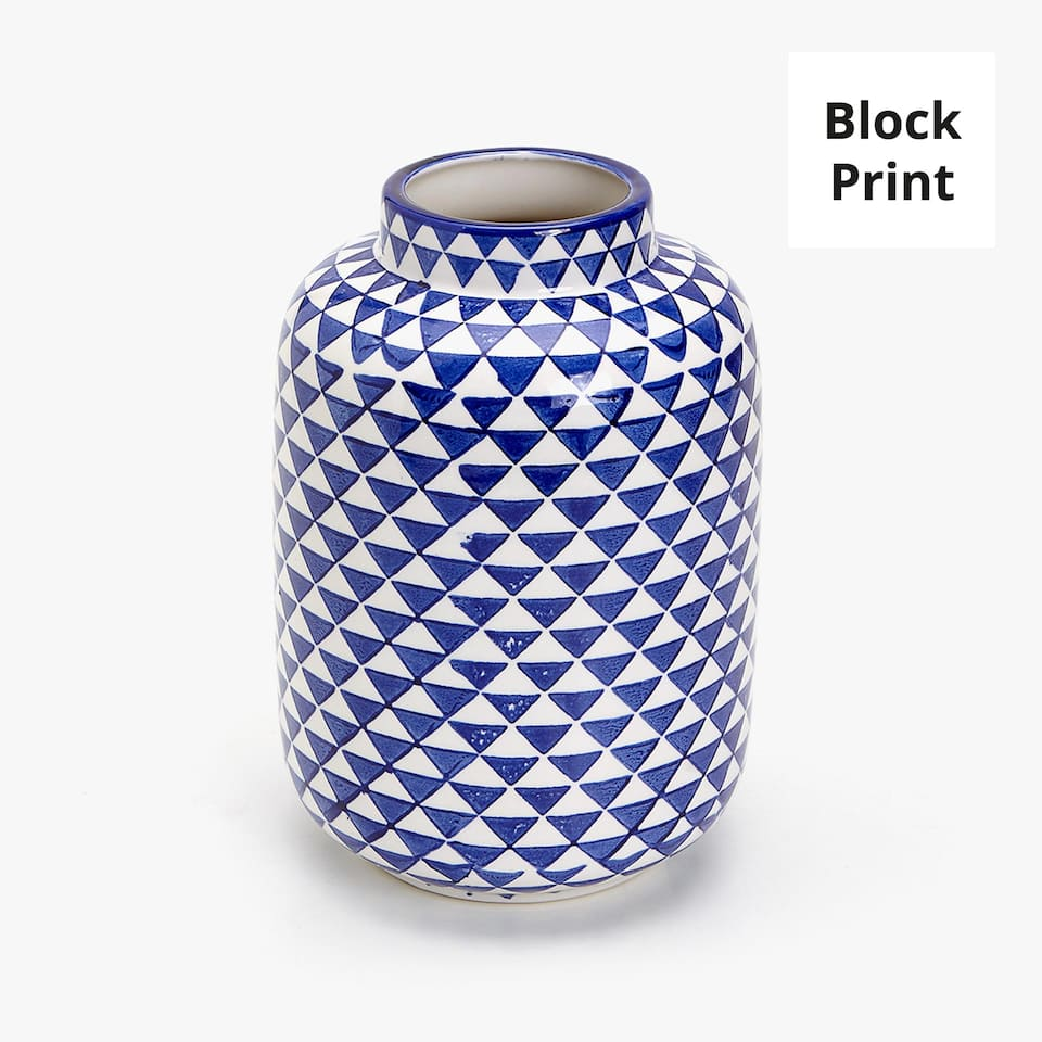 BLUE GEOMETRIC PRINT CERAMIC VASE