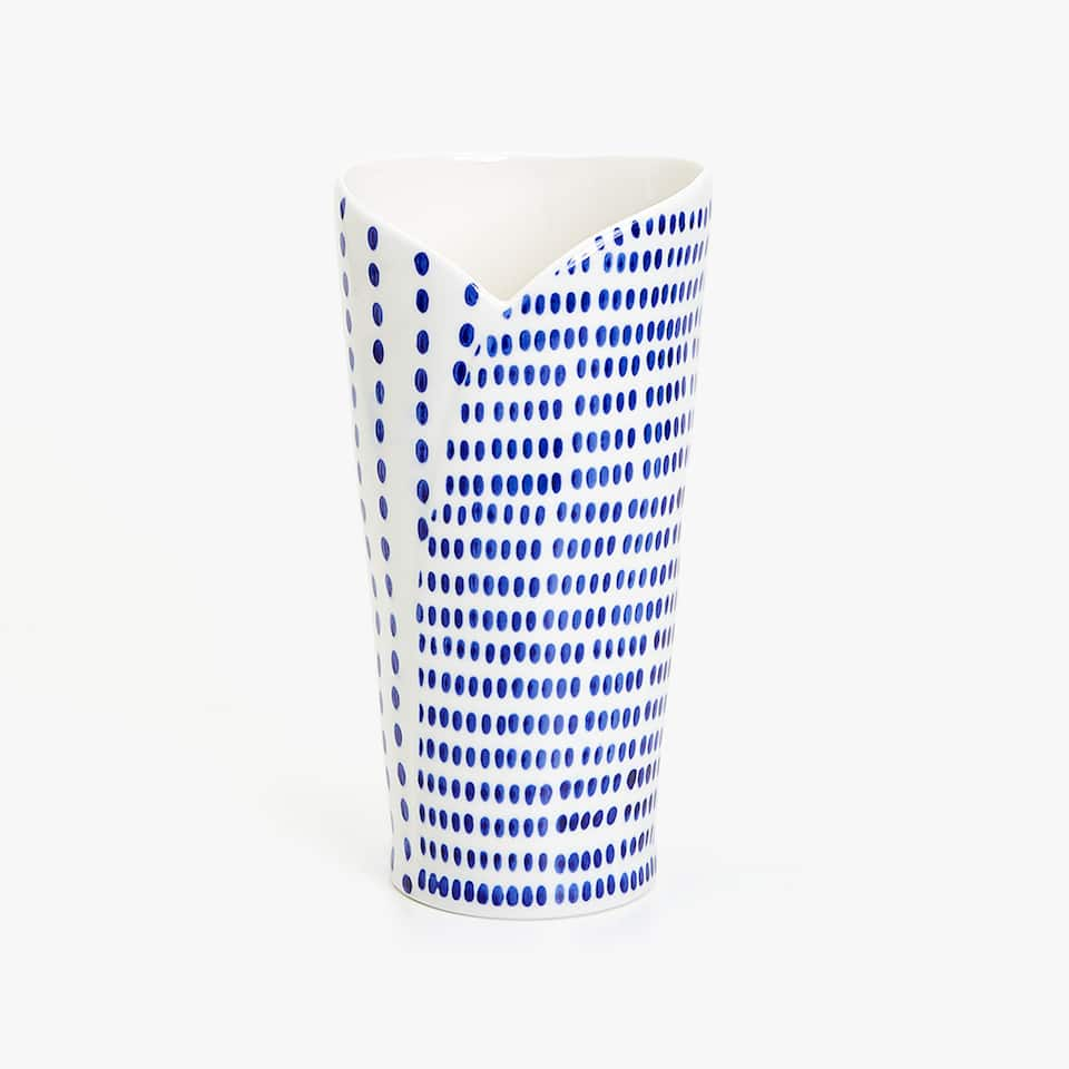 BLUE PAINTED CERAMIC VASE