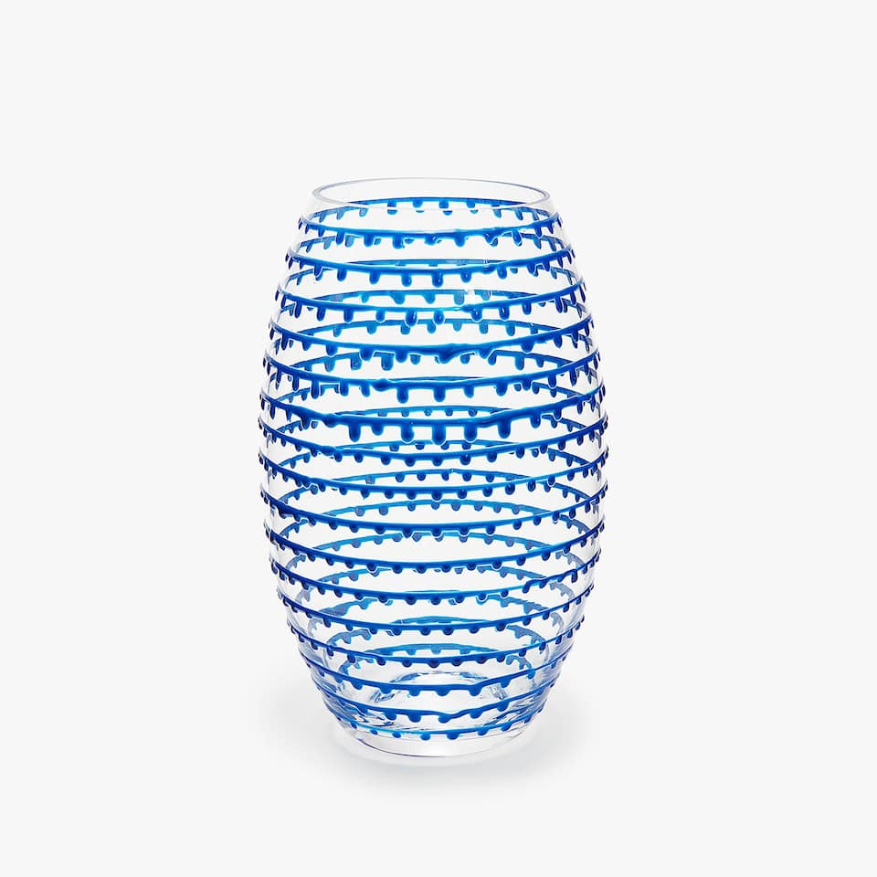 GLASS VASE WITH BLUE RAISED DESIGN