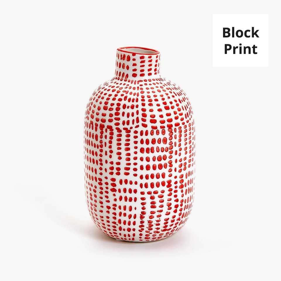 RED PRINTED CERAMIC VASE