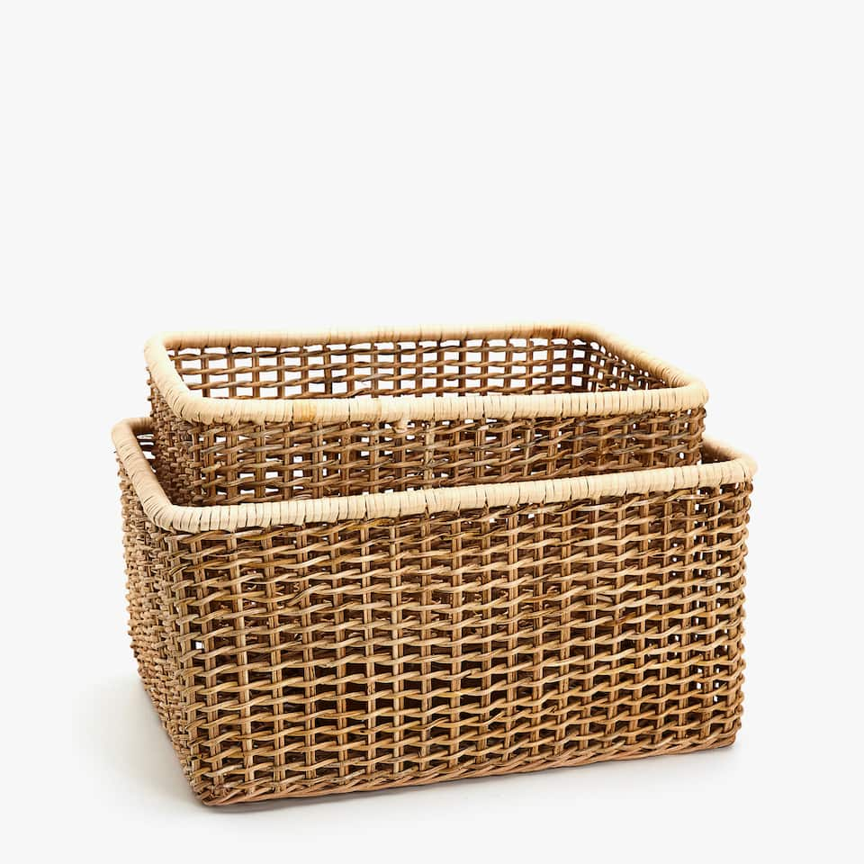 RECTANGULAR BASKET WITH CONTRASTING EDGE