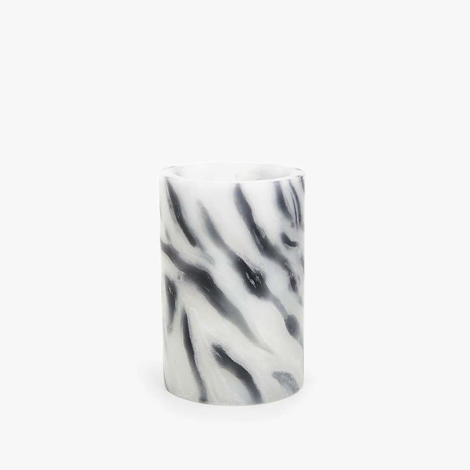 MARBLE-EFFECT CYLINDRICAL CANDLE