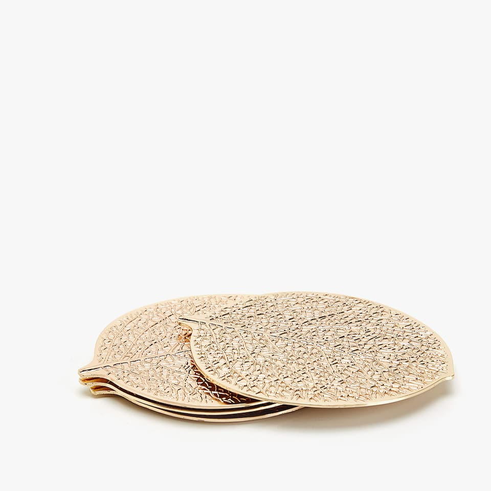 GOLD LEAF-SHAPED COASTERS (SET OF 4)