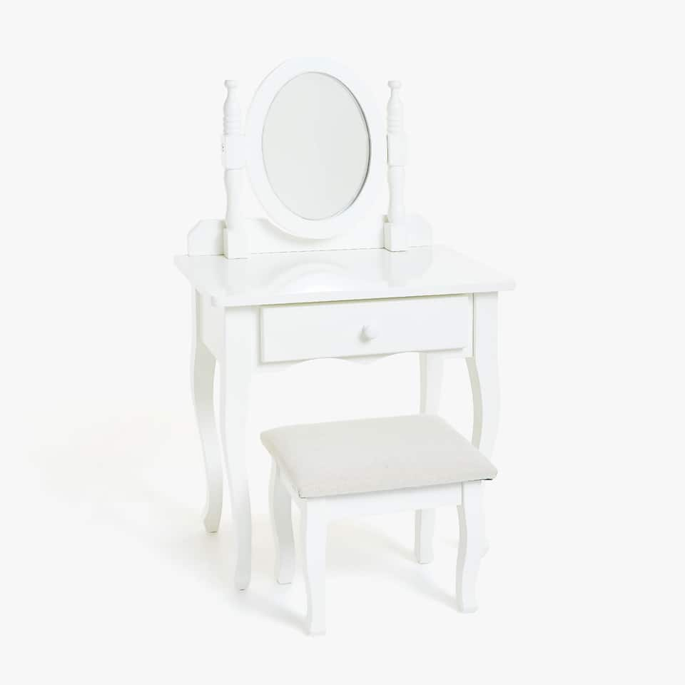 VANITY MIRROR WITH STOOL
