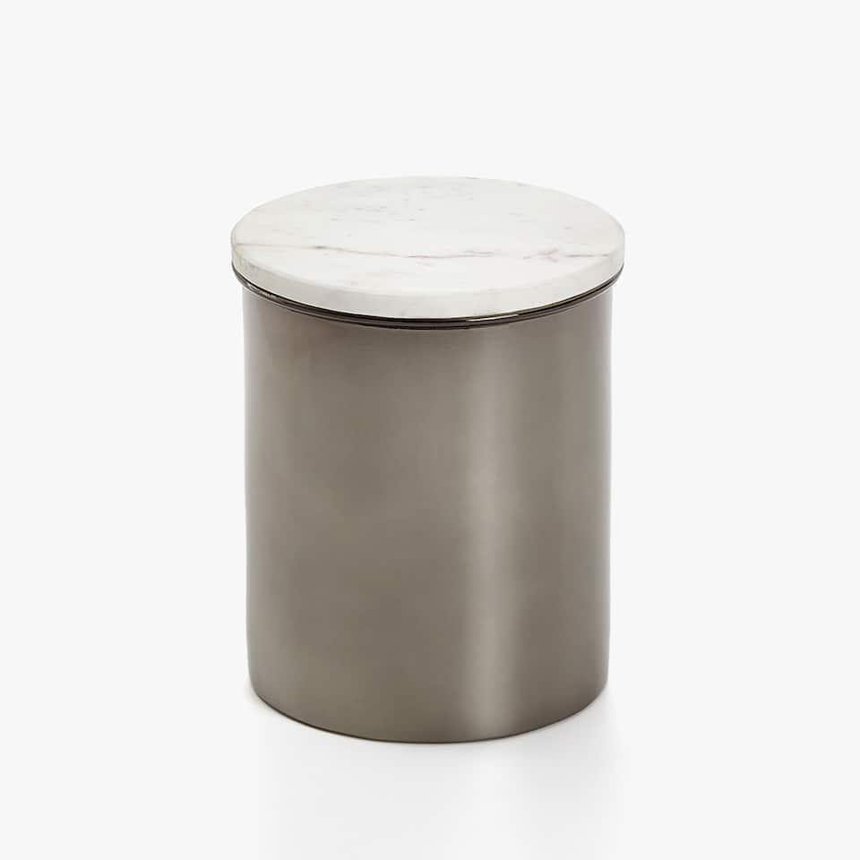 DECORATIVE METAL JAR WITH MARBLE LID