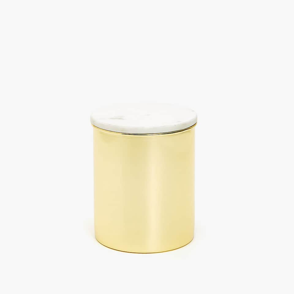 METAL JAR WITH MARBLE LID