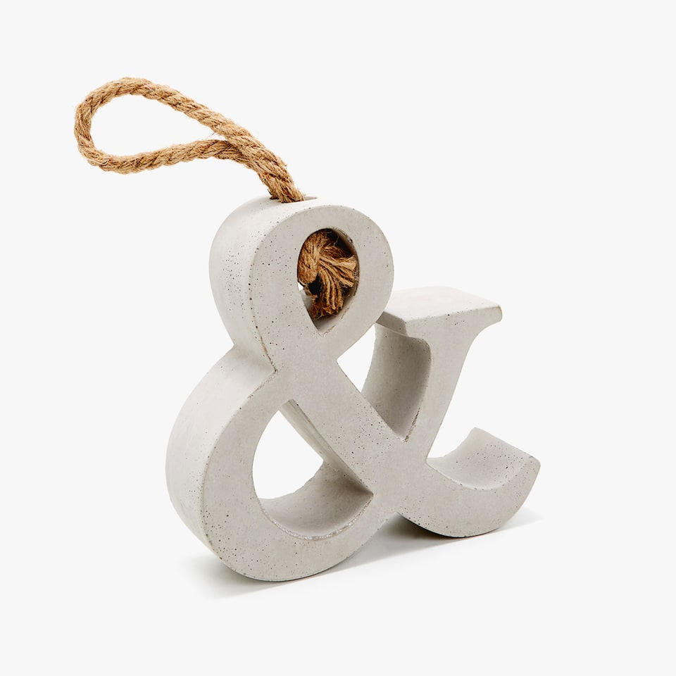 CEMENT LETTER DOOR STOP WITH JUTE HANDLE