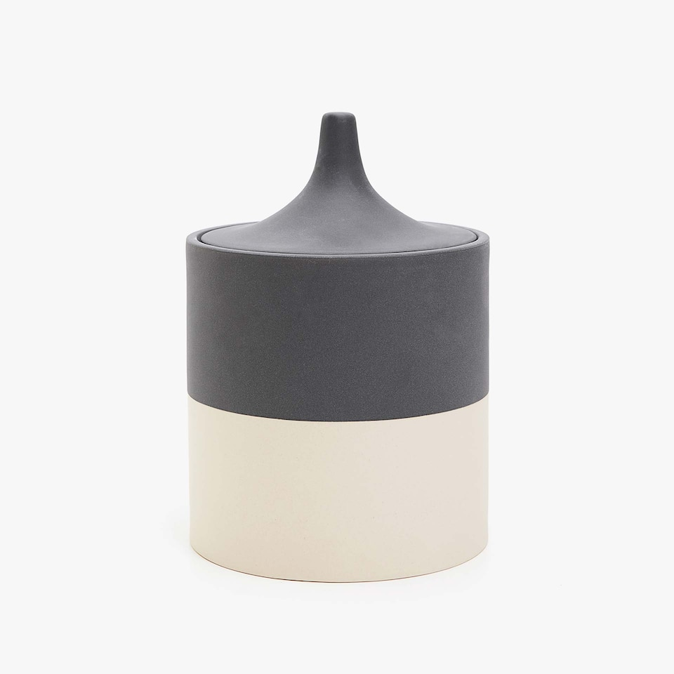 DECORATIVE TWO-TONE CERAMIC JAR