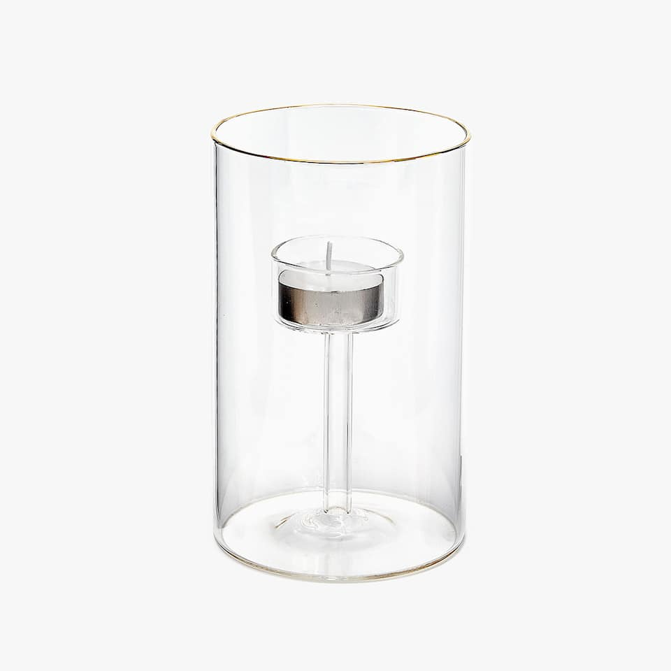 Tealight holder with gold rim