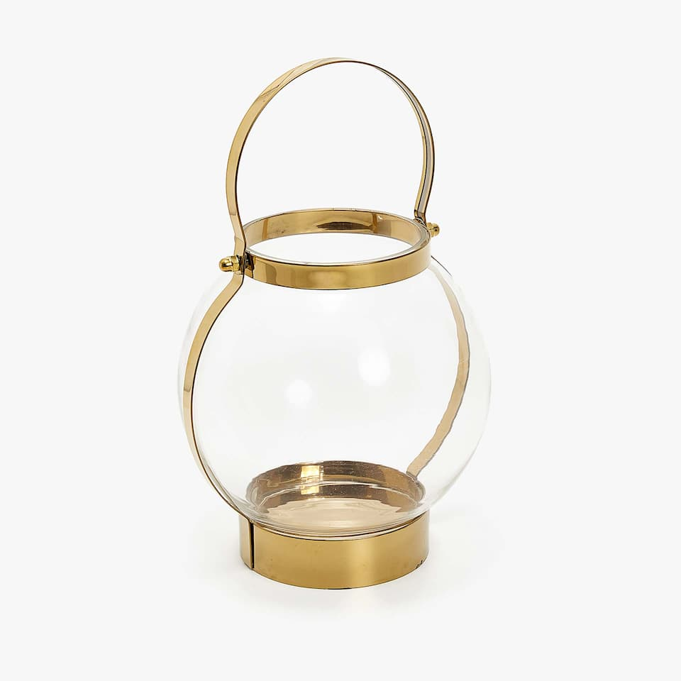 Lantern with golden handle