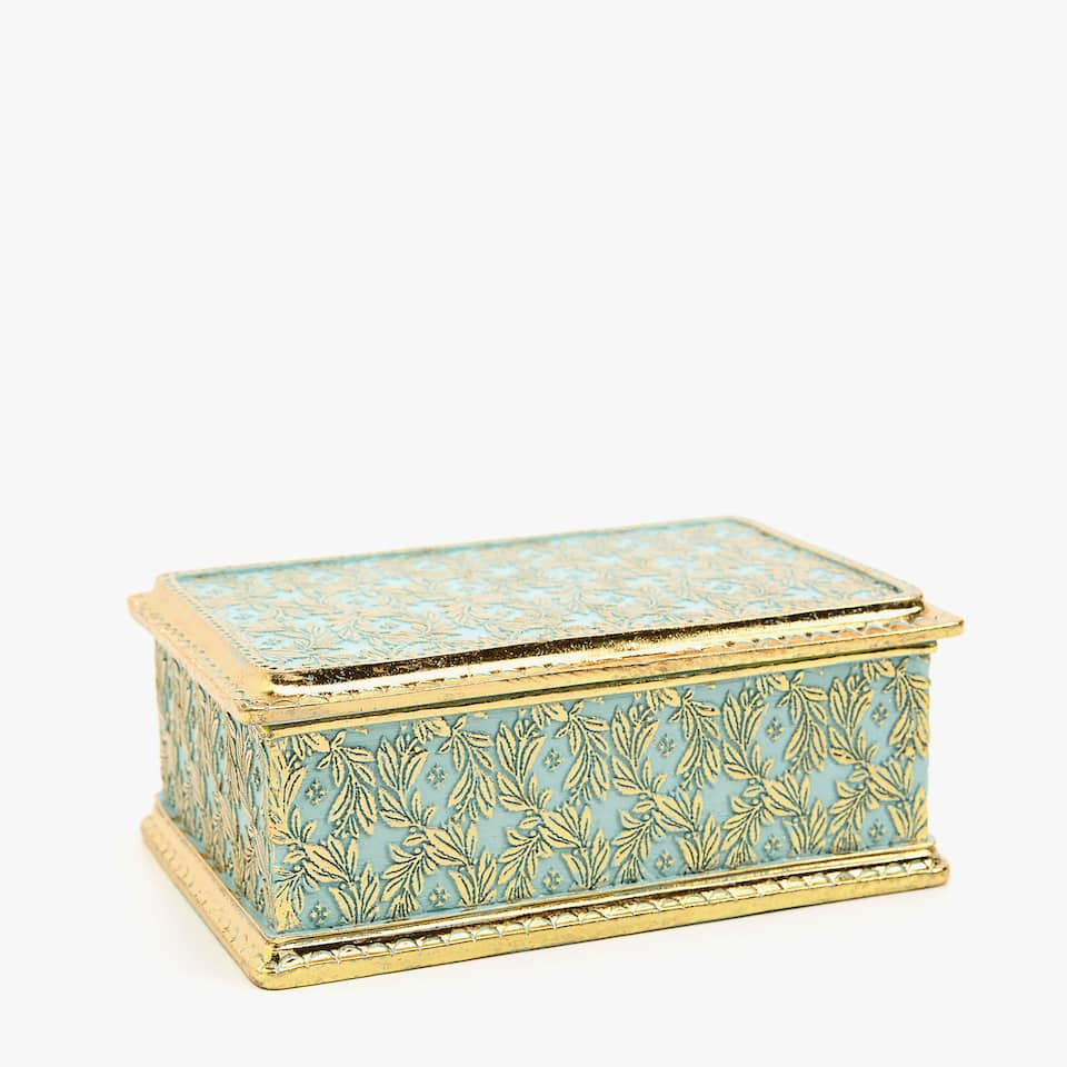 Embossed emerald and gold box