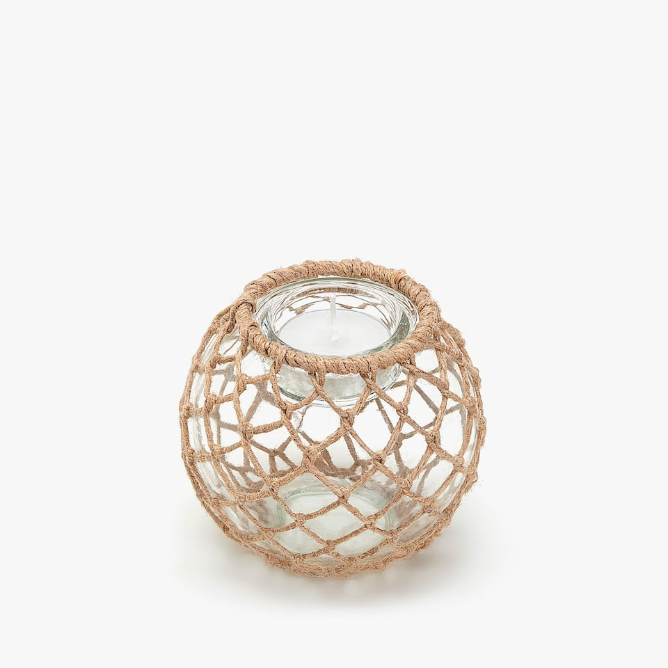 Tealight holder with jute netting