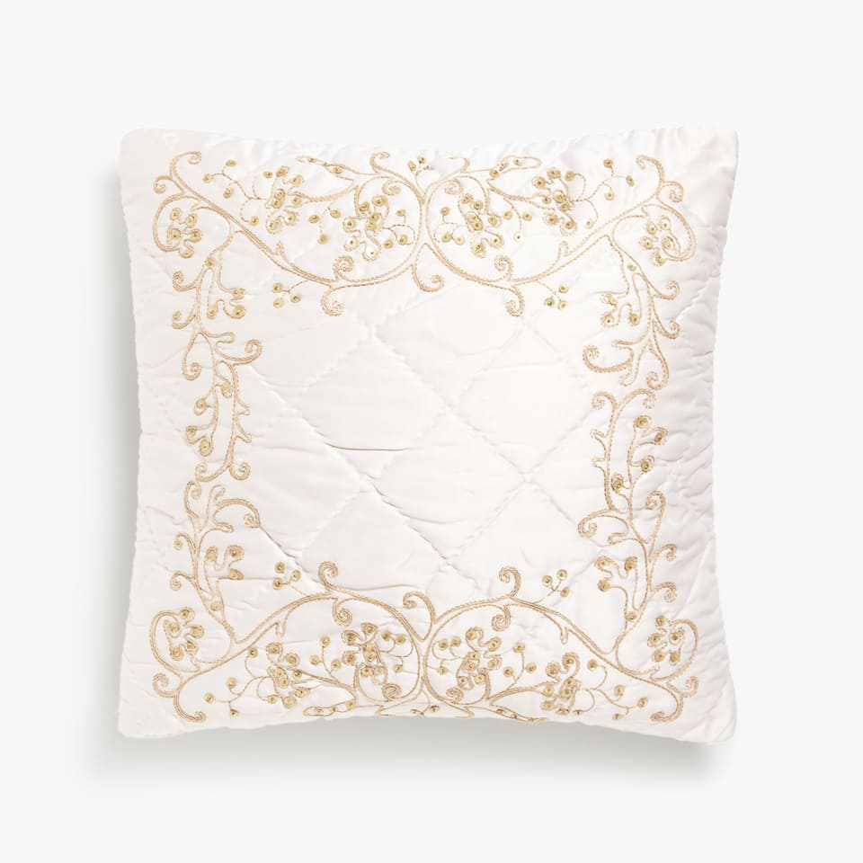 Cushion cover with sequinned detail