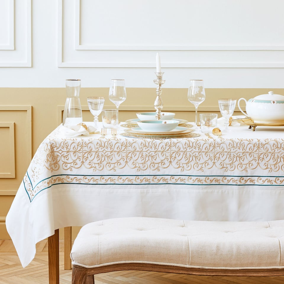 White embroidered cotton tablecloth