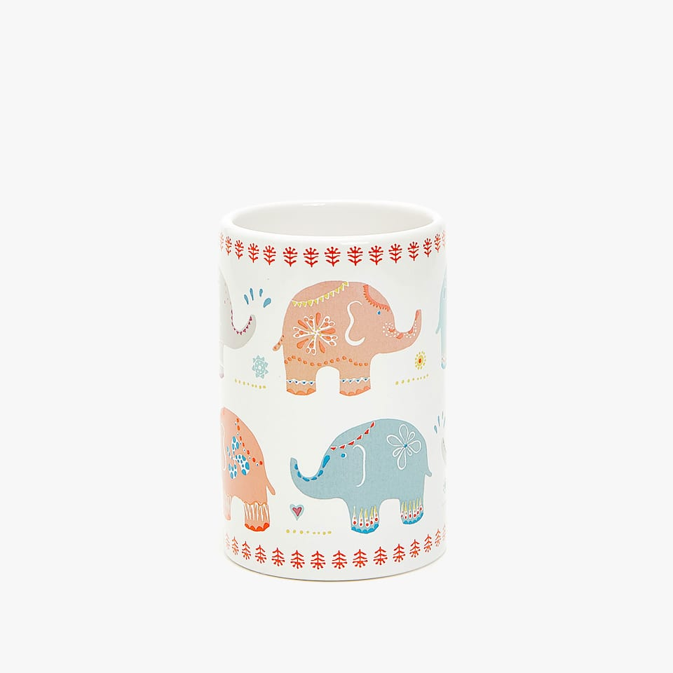 ELEPHANT TRANSFER CERAMIC TUMBLER