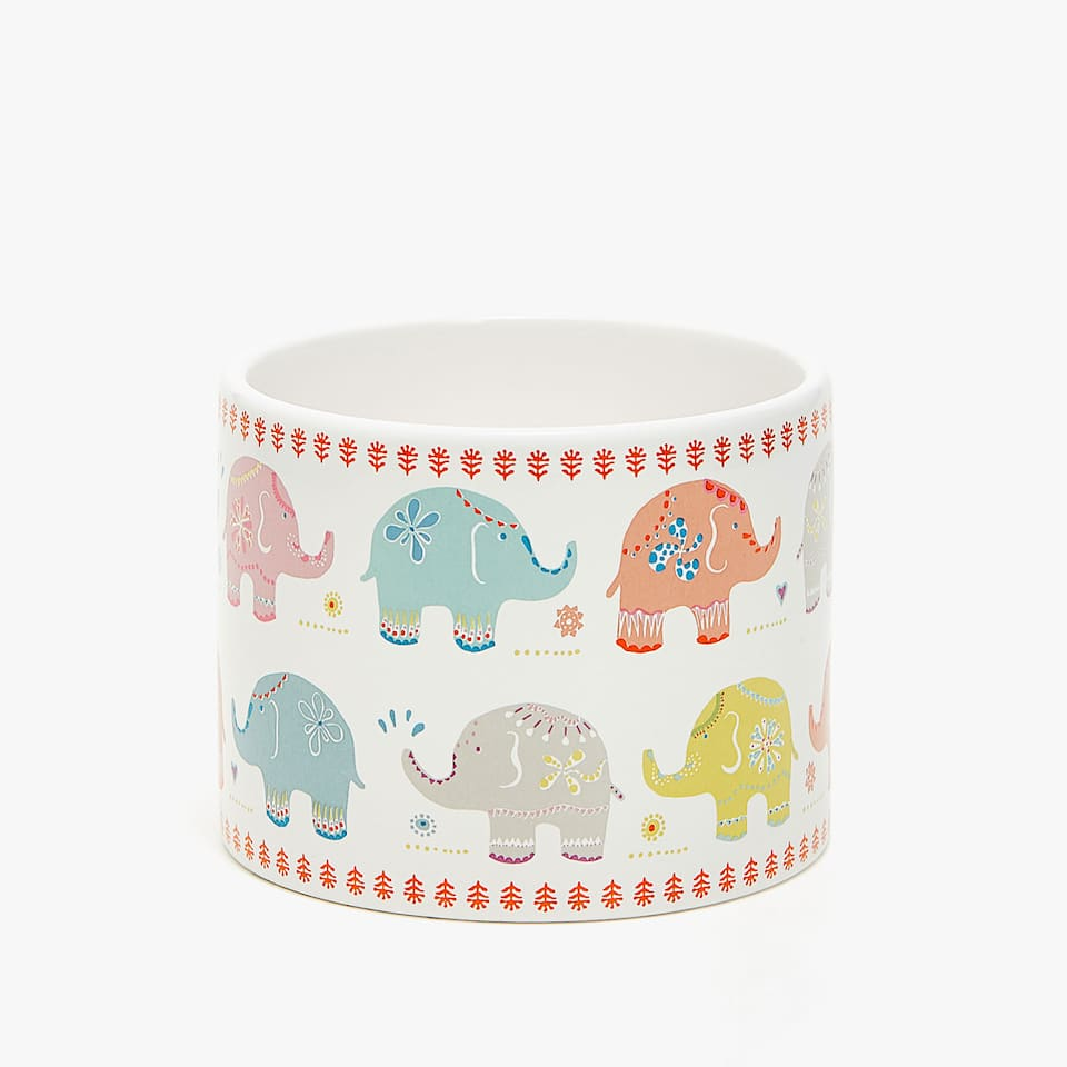 ELEPHANT TRANSFER CERAMIC JAR