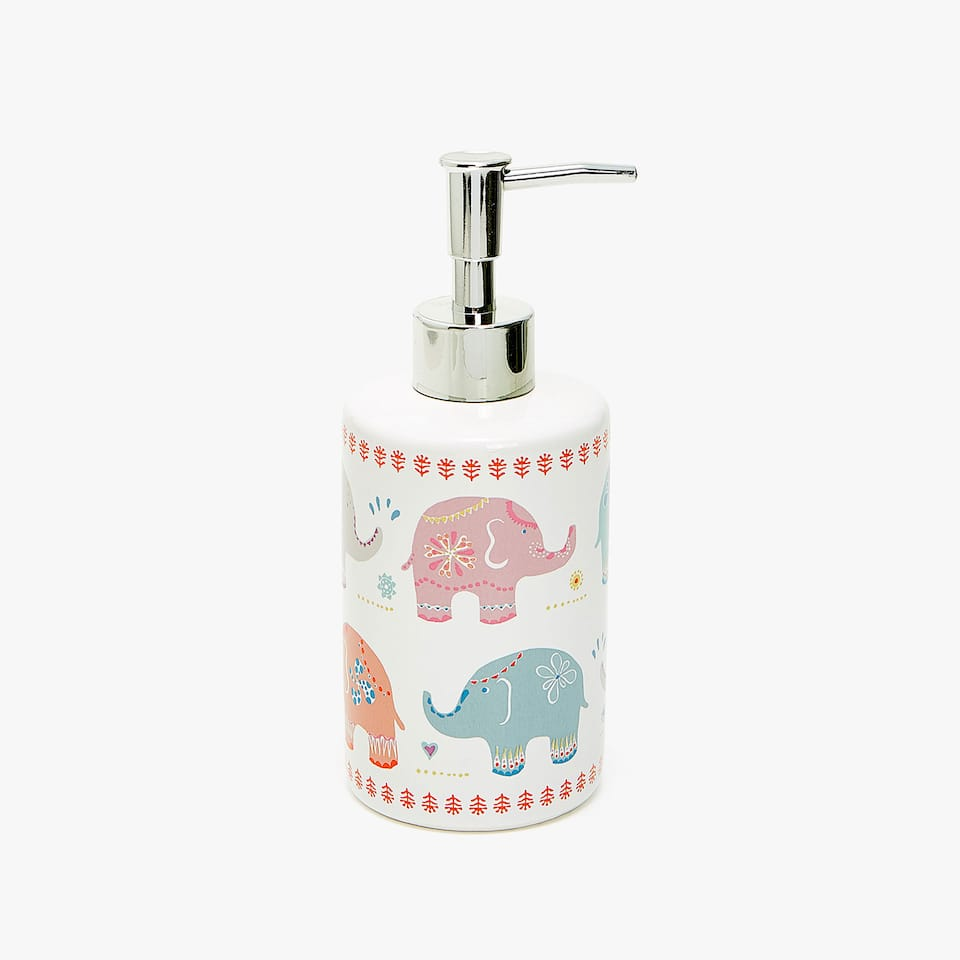 ELEPHANT TRANSFER CERAMIC SOAP DISPENSER