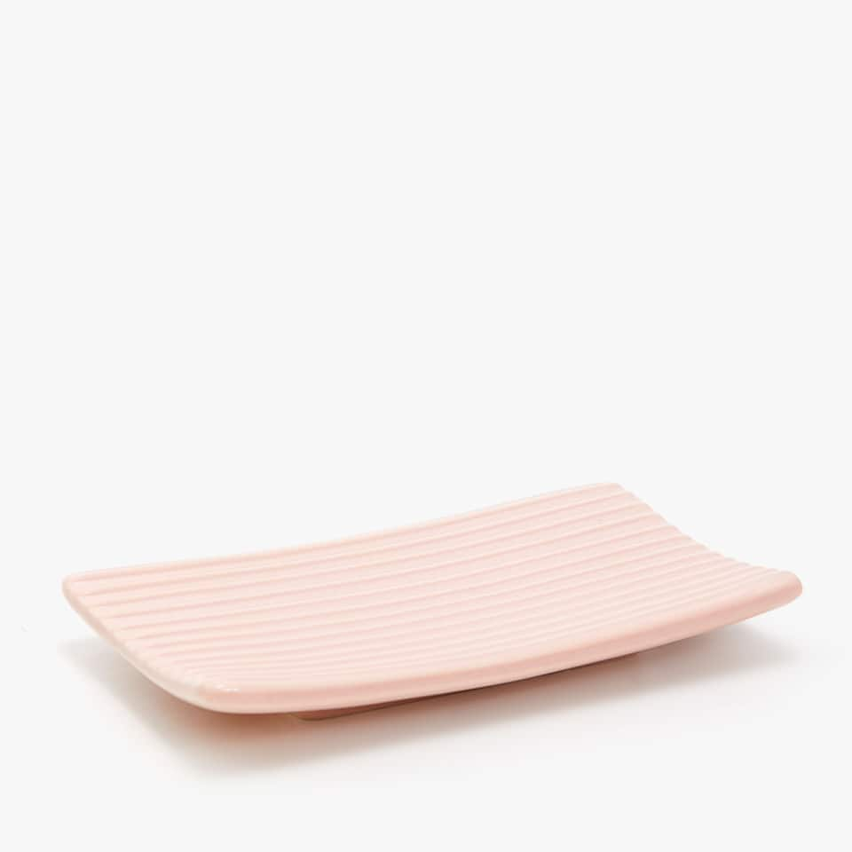 STRIPED CERAMIC SOAP DISH