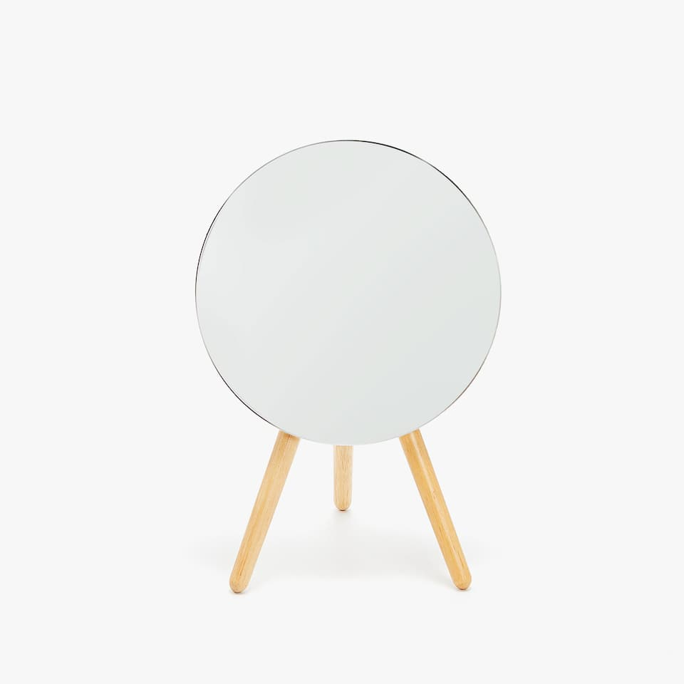 ROUND MIRROR WITH WOODEN LEGS