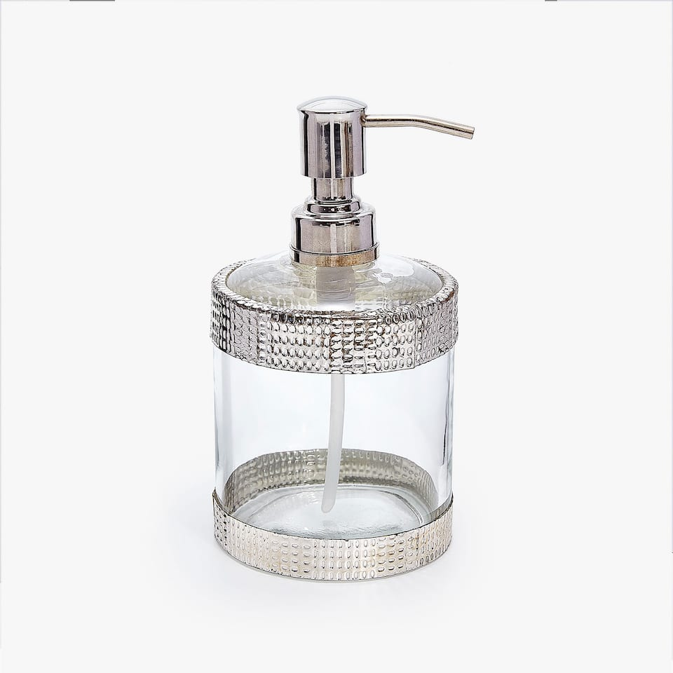 GLASS AND METAL SOAP DISPENSER