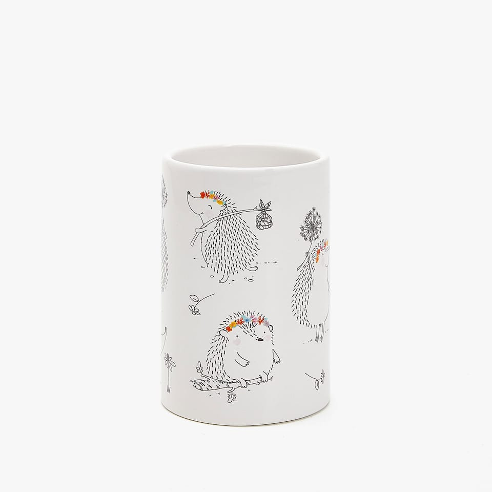 CERAMIC HEDGEHOG TRANSFER TUMBLER