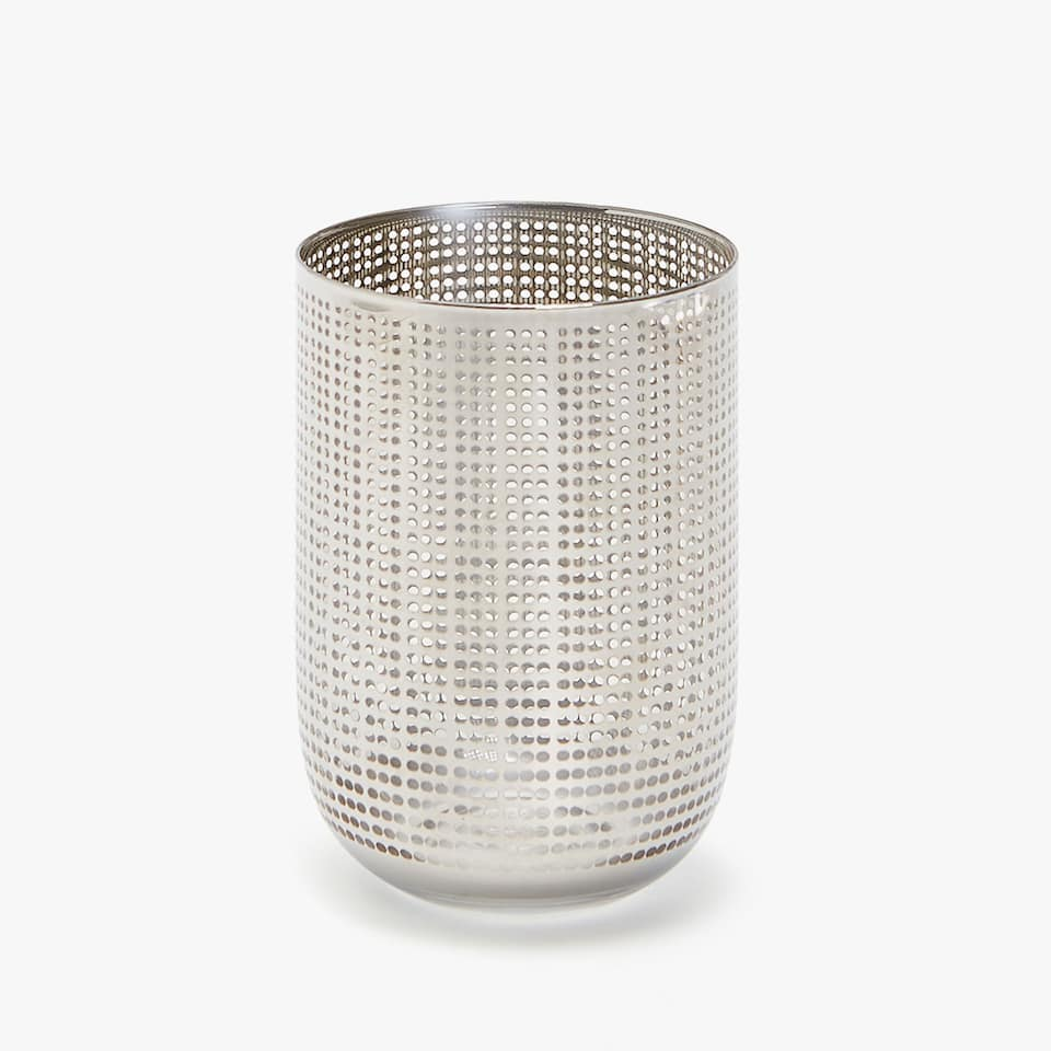 GLASS TUMBLER WITH DOTTED DESIGN