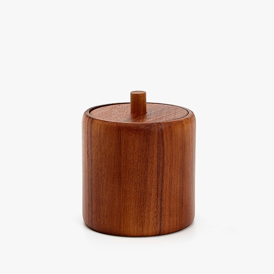 DARK WOODEN CYLINDER JAR