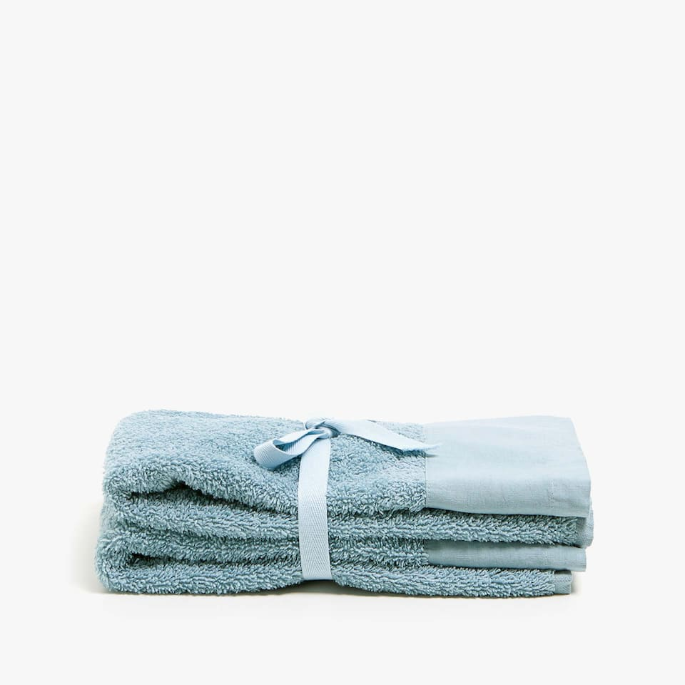 COTTON TOWEL WITH LINEN BORDER (SET OF 2)