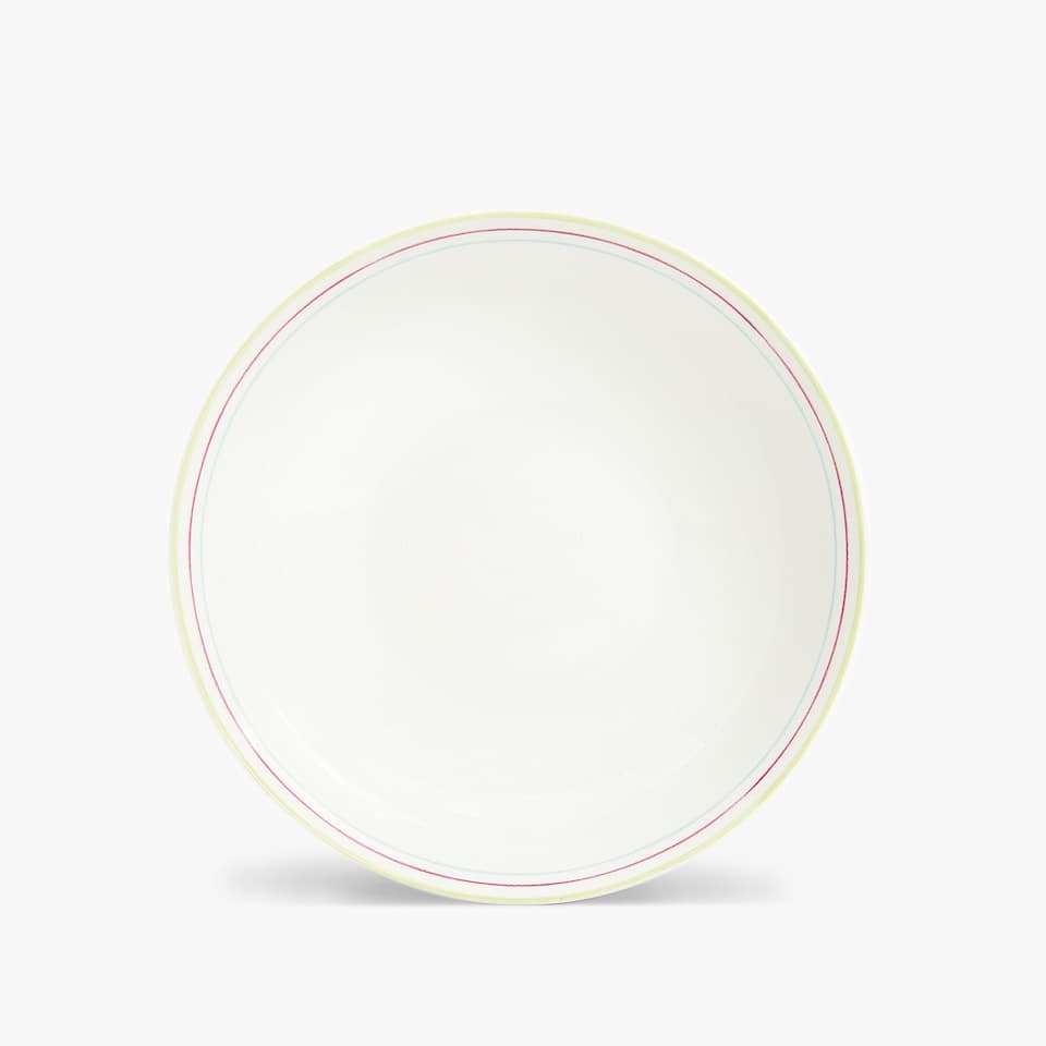 COLOURED STRIPED RIM SOUP PLATE