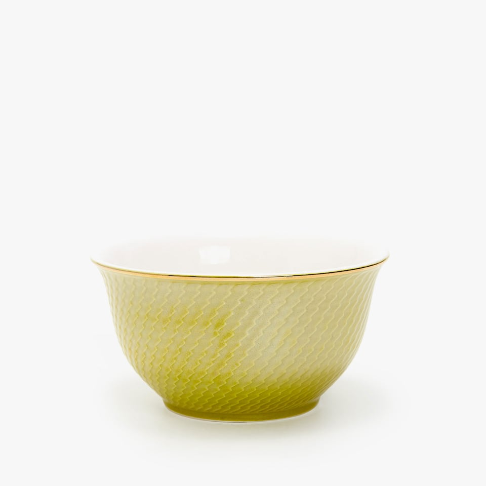 GOLD-RIMMED PORCELAIN BOWL