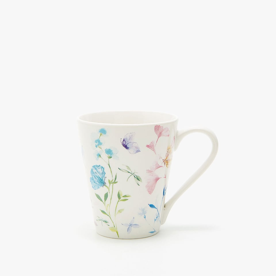 PORCELAIN MUG WITH FLORAL TRANSFER