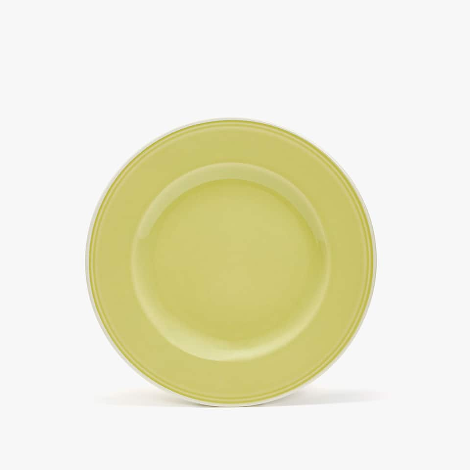 WHITE-RIMMED GREEN EARTHENWARE DESSERT PLATE