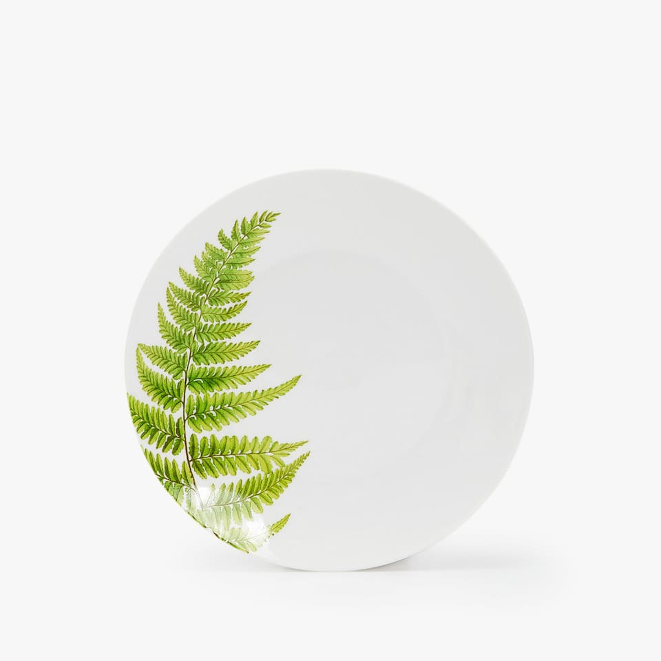 PORCELAIN DESSERT PLATE WITH LEAF TRANSFER