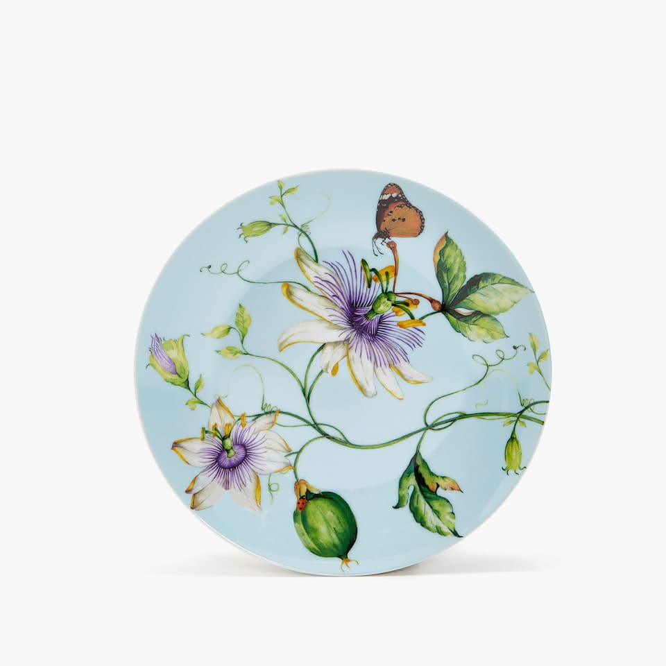 PORCELAIN DESSERT PLATE WITH FLORAL TRANSFER