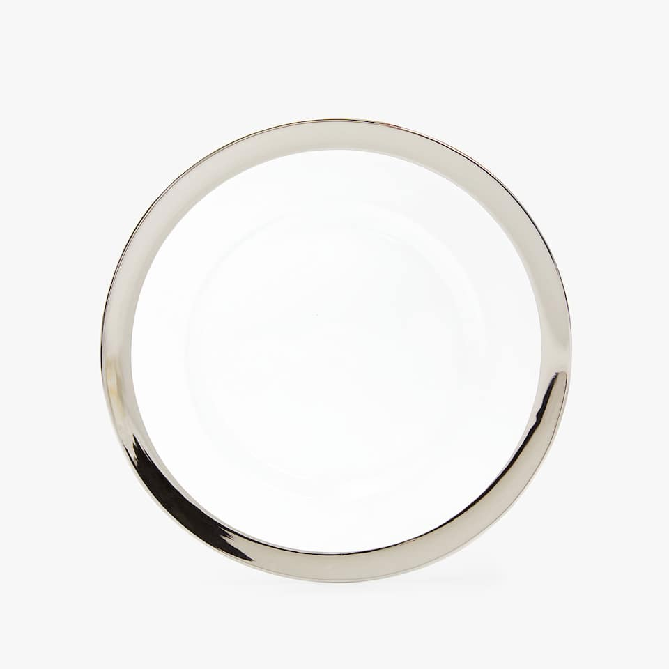 GLASS CHARGER PLATE WITH WIDE RIM