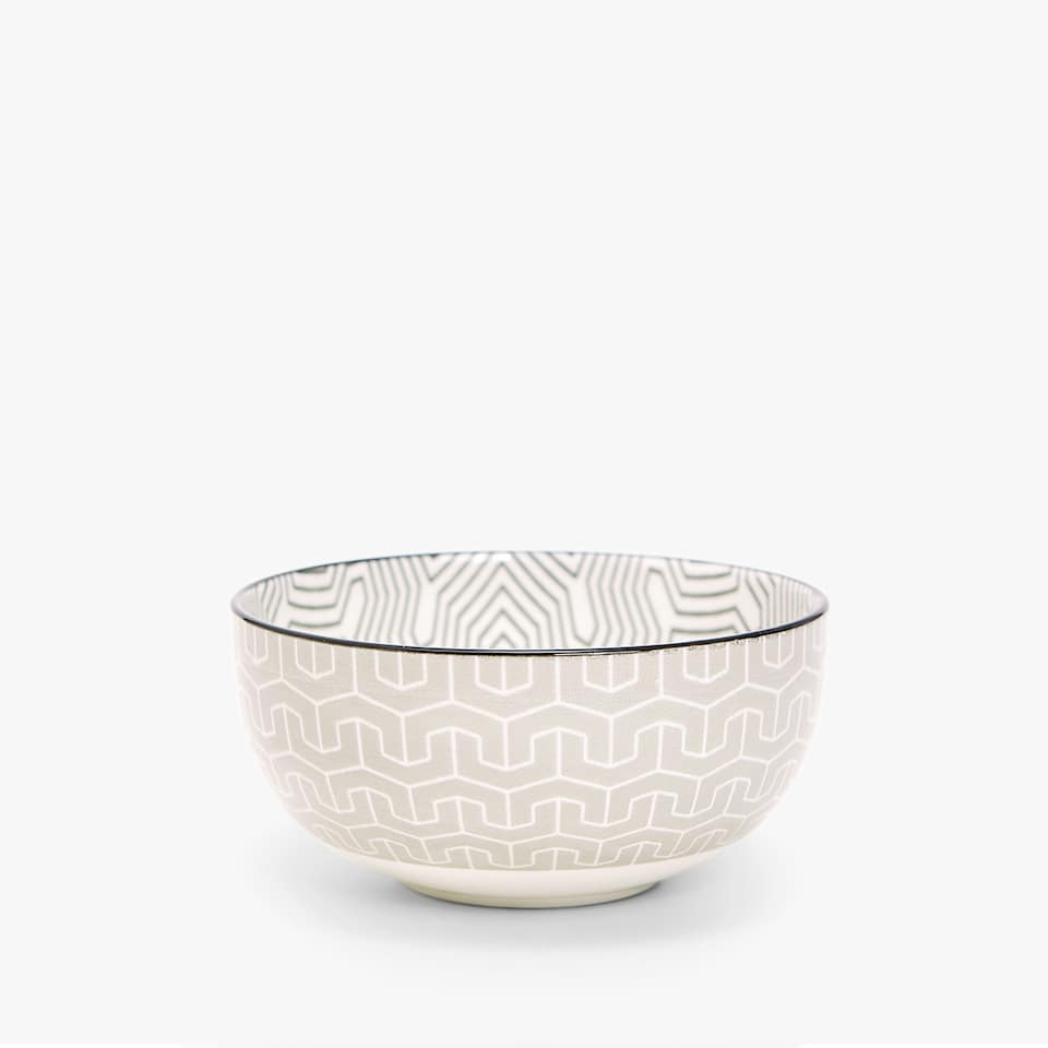 MINI PORCELAIN BOWL WITH GEOMETRIC TRANSFER