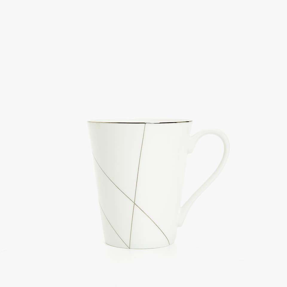 TAZA BONE CHINA PLATEADA