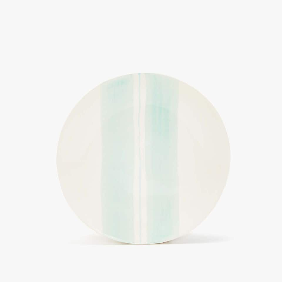 EARTHENWARE DESSERT PLATE WITH COLOURED STRIPES