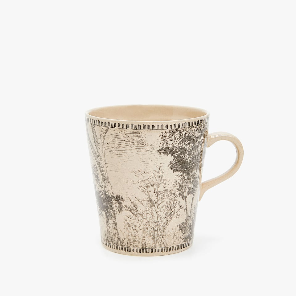 STONEWARE MUG WITH TREE TRANSFER