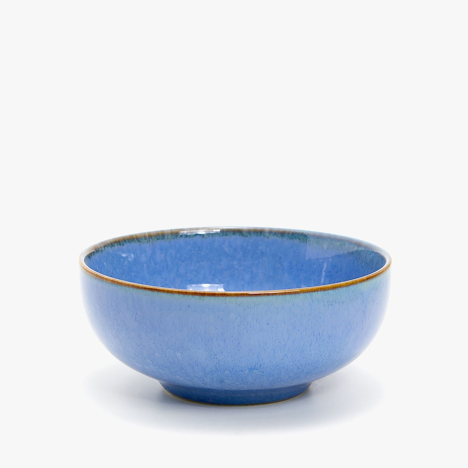 BLUE EARTHENWARE BOWL WITH CONRASTING RIM