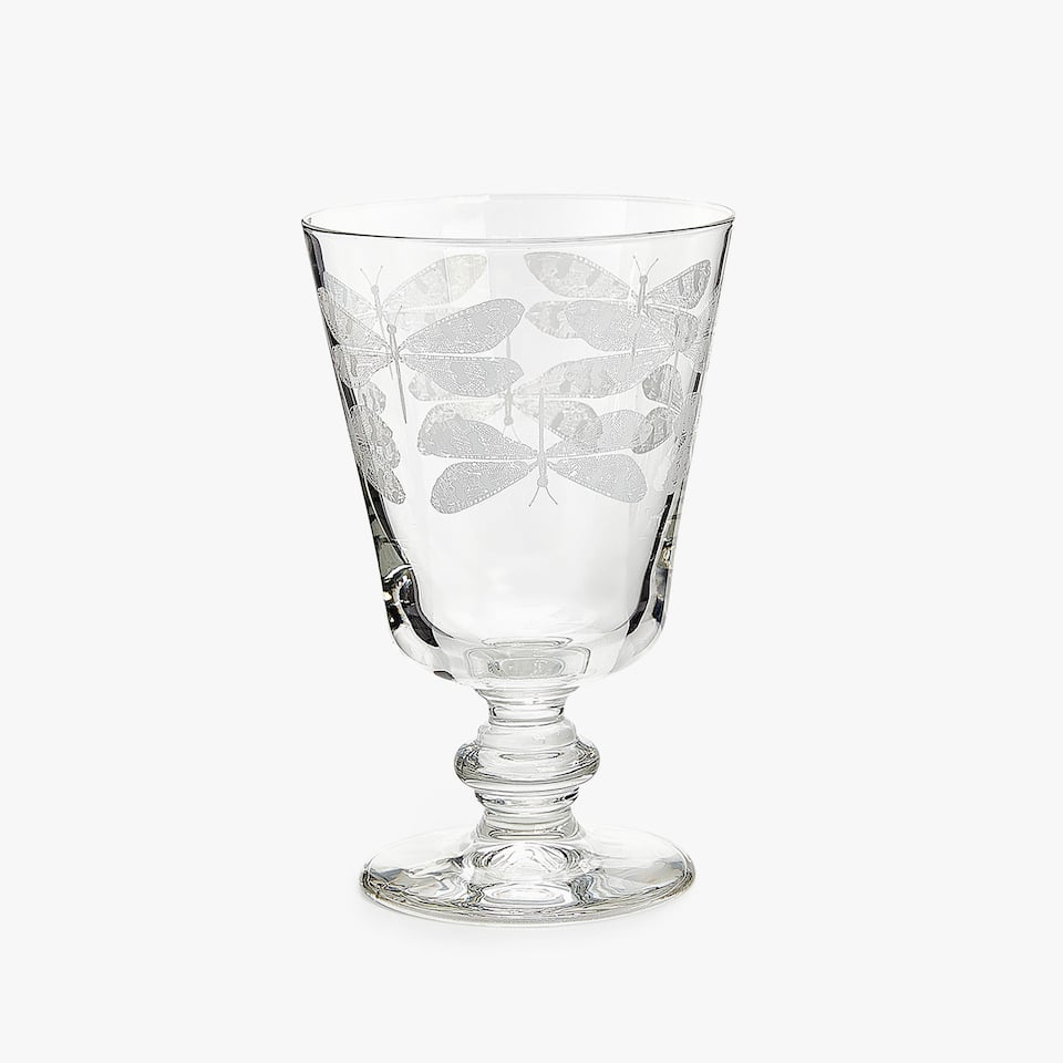 DRAGONFLY TRANSFER WINE GLASS