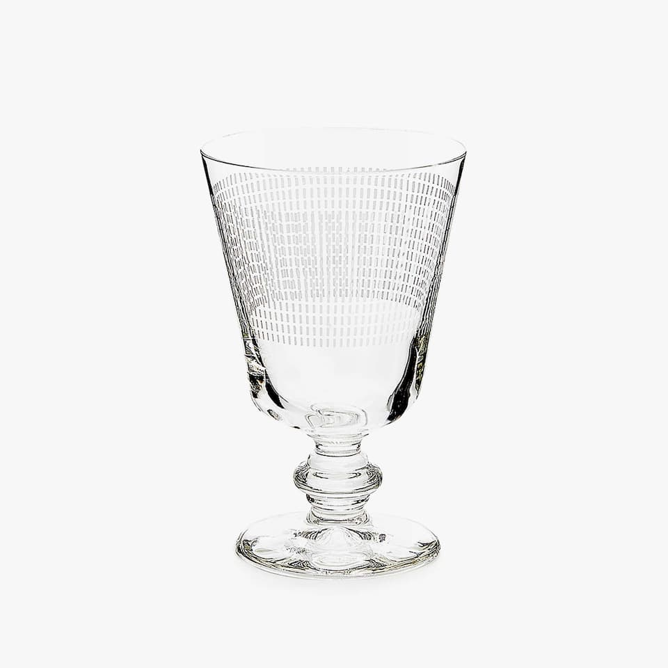 CHECKED TRANSFER OVAL WINE GLASS