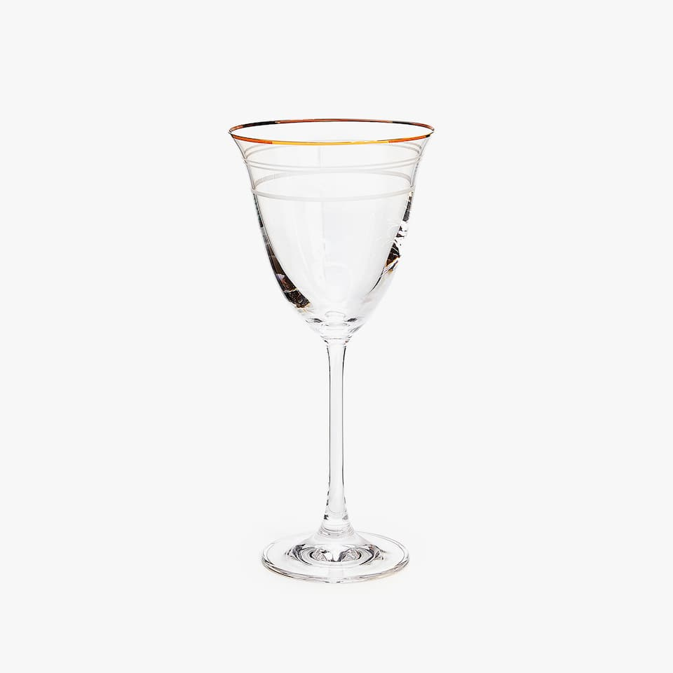 ENGRAVED LINES WINE GLASS WITH GOLD RIM