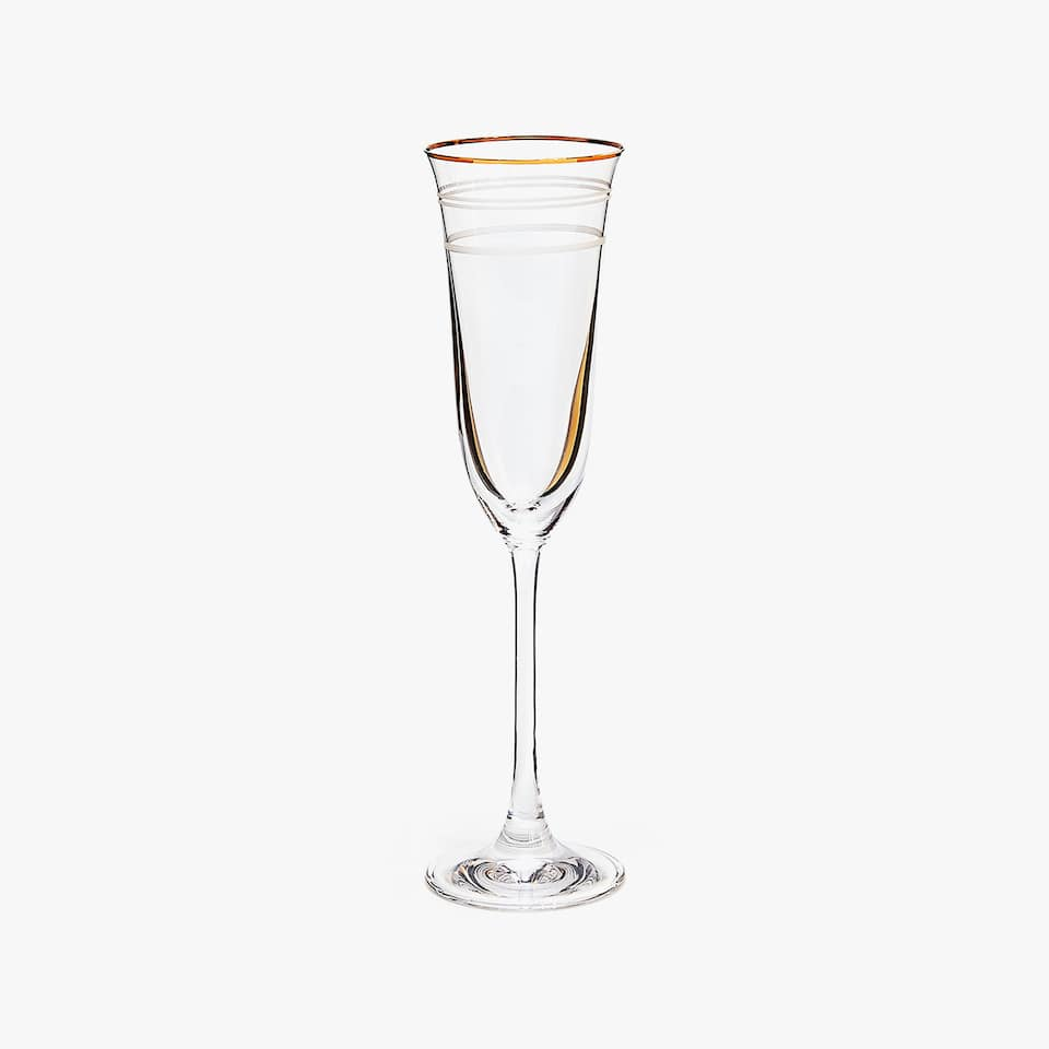 ENGRAVED LINES CHAMPAGNE FLUTE WITH GOLD RIM